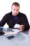 Young Casual Businessman Working at his Desk Stock Photo
