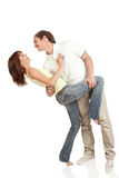 Young casual couple dancing. Stock Photo