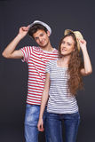 Young casual couple greeting Stock Photography