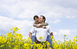 Young casual couple having fun. Outdoors Stock Photo