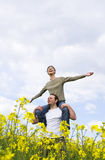 Young casual couple having fun. Outdoors Royalty Free Stock Photo