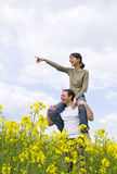 Young casual couple having fun. Outdoors Royalty Free Stock Image