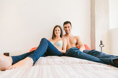 Young Casual Couple at Home Stock Photo