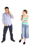Young Casual Couple on White Stock Photo
