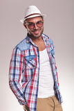 Young casual fashion man smiling at the camera Stock Photos
