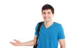 Young casual male presenting something Stock Photos