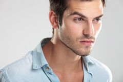 Young casual man in blue shirt Royalty Free Stock Photography