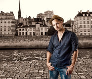 Young casual man in European city Royalty Free Stock Images
