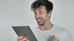 Young Casual Man Excited for Success while Using Smartphone stock footage