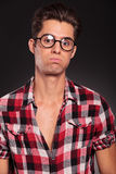Young casual man with funny face Royalty Free Stock Photography