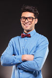 Young casual man with glasses smiling Stock Photos