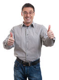Young casual man going thumb up Royalty Free Stock Photo