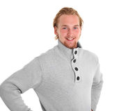 Young casual man in a grey sweater Stock Photos