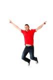 Young casual man jumping. Royalty Free Stock Photos