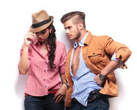 Young casual man looking at his girlfriend Stock Photography