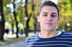 Young casual man outdoor portrait posing Stock Photography