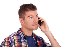 Young casual man on the phone Stock Image