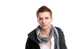 Young casual man posing. Isolated in white background royalty free stock photography