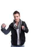 Young casual man posing. Isolated in white background royalty free stock photo