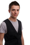 Young casual man posing. Isolated in white background royalty free stock images