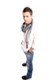 Young Casual man posing. Isolated in white background royalty free stock photos