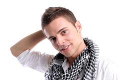 Young casual man posing. Isolated in white background royalty free stock image