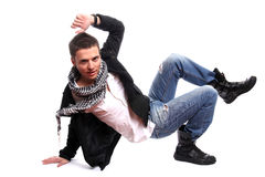 Young casual man posing. Isolated in white background stock images