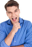 Young casual man screaming Stock Photos