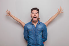 Young casual man screaming Stock Photos