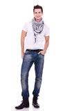 Young casual man wearing boots Royalty Free Stock Photo
