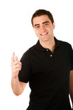 Young casual man on white background Stock Photo