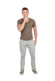 Young casual men with silence gesture Stock Images