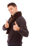Young casual men tumbs up Royalty Free Stock Photos