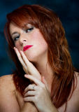 Young casual red haired female portrait Stock Images