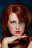 Young casual red haired female portrait Stock Photo
