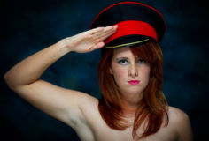 Young Casual Red Haired Female Portrait With Hat Royalty Free Stock Photos