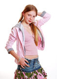 Young casual teen model. Young teenage model with long auburn hair wearing casual clothes Stock Photos
