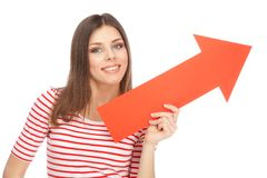 Young casual woman with an arrow Stock Photo