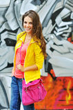 Young casual woman in colorful clothes outdoor portrait Stock Images