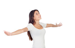 Young casual woman with her arms stretched. Isolated on a white background Royalty Free Stock Images