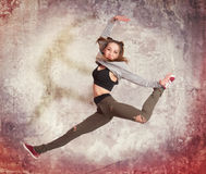 Young casual woman jumping Royalty Free Stock Photo