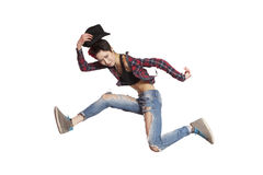 Young casual woman jumping. Isolated Stock Photo