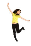 Young casual woman jumping. Stock Photo