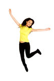 Young casual woman jumping. Royalty Free Stock Photo