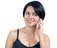 Young casual woman smiling on the phone Stock Photos