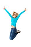 Young casual woman, student jumping. Young casual woman, student jumping in air Stock Photography
