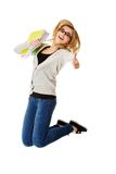 Young casual woman, student jumping. Stock Image