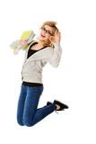 Young casual woman, student jumping. Royalty Free Stock Photo