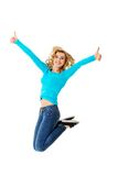 Young casual woman, student jumping. Royalty Free Stock Photos
