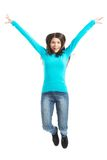 Young casual woman, student jumping. Stock Photo